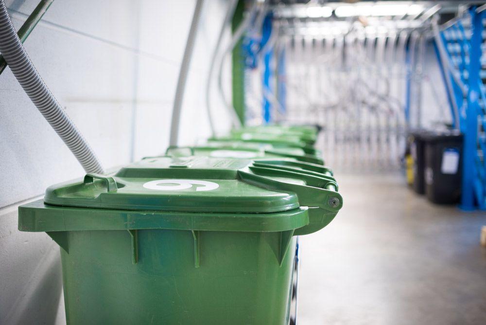 Bio-Mülltonen aufgereiht an einer Wand